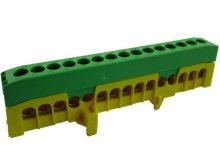 Pollmann, kalapsínre rögzíthető sorkapocs, 15x16mm2 zöld/sárga, csavaros csatlakozás, PE15-F2 (Pollmann 2020273)