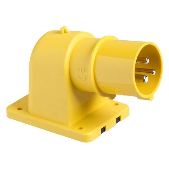 Schneider Electric, 81813, ipari csatlakozó beépíthető dugvilla ferde 3P (2P+F) 32A 4h, 130V 50/60 Hz, IP44, sárga, csavaros csatlakozás, PratiKa (Schneider 81813)