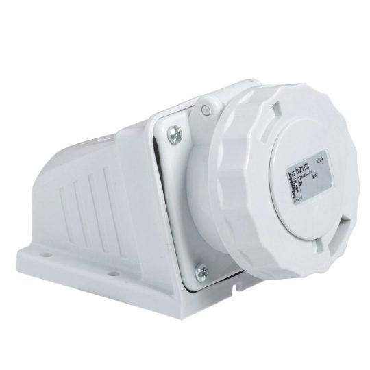 Schneider Electric, 82153, Törpefeszültségű ipari csatlakozó rögzíthető dugalj 2P 16A 12h, 40-50V 50/60 Hz, IP67, szürke, csavaros csatlakozás, PratiKa (Schneider 82153)