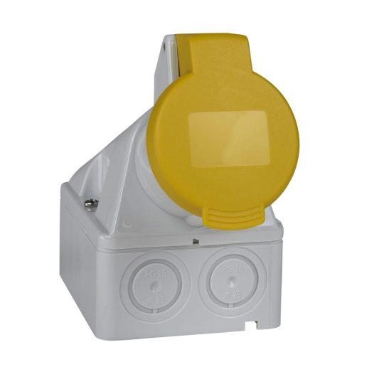 Schneider Electric, 83113, ipari csatlakozó rögzíthető dugalj tokozott 3P (2P+F) 32A 4h, 130V 50/60 Hz, IP44, sárga, csavaros csatlakozás, PratiKa (Schneider 83113)