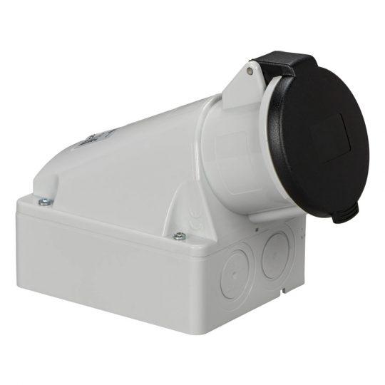 Schneider Electric, 83124, ipari csatlakozó rögzíthető dugalj tokozott 5P (3P+N+F) 32A 7h, 500V 50/60 Hz, IP44, fekete, csavaros csatlakozás, PratiKa (Schneider 83124)