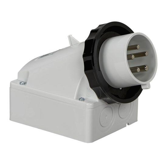 Schneider Electric, 83574, ipari csatlakozó rögzíthető dugvilla tokozott 5P (3P+N+F) 32A 7h, 500V 50/60 Hz, IP67, fekete, csavaros csatlakozás, PratiKa (Schneider 83574)