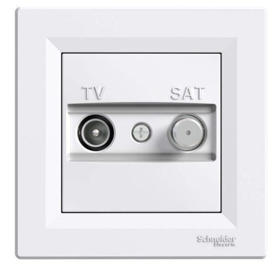 Schneider Electric Asfora EPH3400321 átmenő TV-SAT csatlakozóaljzat 8 dB, fehér burkolattal, kerettel, süllyesztett ( EPH3400321 ).