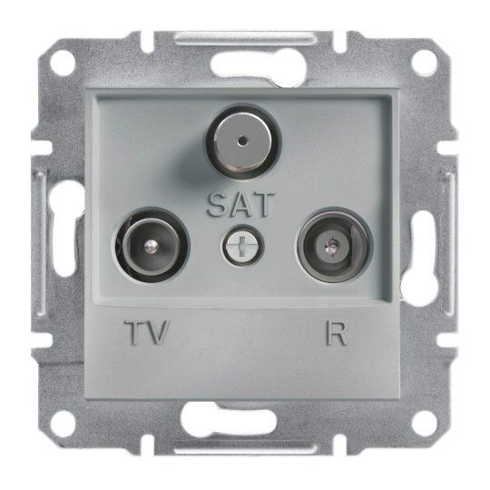 Schneider Electric Asfora EPH3500261 átmenő TV-Rádió-SAT csatlakozóaljzat 4 dB, aluminium burkolattal. keret nélkül, süllyesztett ( EPH3500261 ).