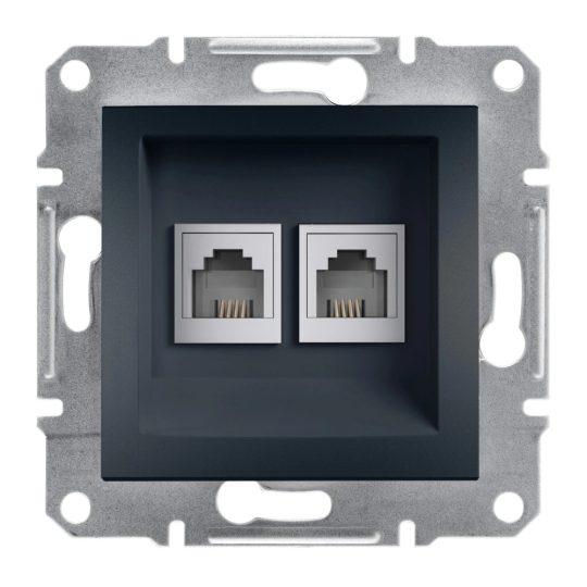 Schneider Electric Asfora EPH4200171 telefoncsatlakozó 2xRJ11, antracit burkolattal, keret nélkül ( EPH4200171 ).