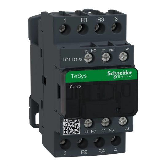 Schneider Electric, TeSys D, LC1D128ML, Mágneskapcsoló, 25A (400V, AC1), 4 pólus, 2 Záró + 2 Nyitó főérintkező, 120V DC vezerlés, csavaros csatlakozás, kis fogyasztású tekerccsel, TeSys D (Schneider LC1D128ML)
