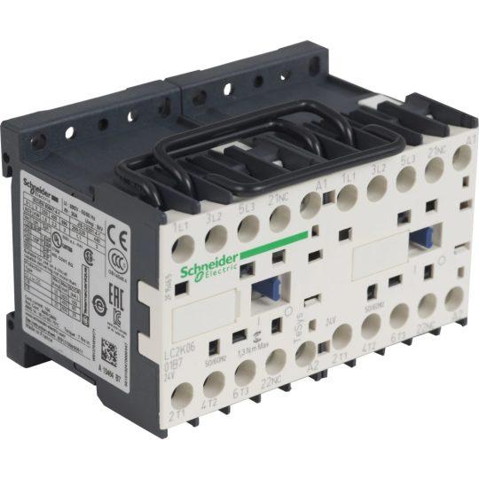 Schneider Electric, Forgásirányváltó magneskapcsoló, 4kW/9A (400V, AC3), 24V AC 50/60 Hz vezerlés, 1Ny, csavaros csatlakozás, TeSys K (Schneider LC2K0901B7)