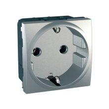 Schneider Unica MGU3.036.30 földelt csatlakozóaljzat (dugalj) 2P+F, 1 modulos, alumínium burkolattal, keret és rögzítőkeret nélkül, süllyesztett, csavaros bekötés, 16A 250V