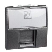 Schneider Unica MGU3.411.12 informatikai csatlakozóaljzat, 1xRJ45, 2 modulos, Cat5e UTP, grafit burkolattal, keret és rögzítőkeret nélkül, süllyesztett