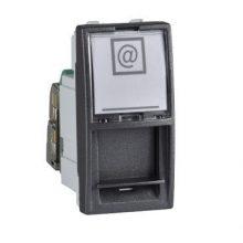 Schneider Unica MGU3.412.12 informatikai csatlakozóaljzat, 1xRJ45, 1 modulos, Cat5e STP, grafit burkolattal, keret és rögzítőkeret nélkül, süllyesztett