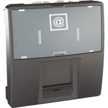 Schneider Unica MGU3.413.12 informatikai csatlakozóaljzat, 1xRJ45, 2 modulos, Cat5e STP, grafit burkolattal, keret és rögzítőkeret nélkül, süllyesztett