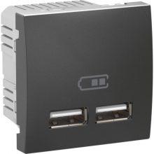 Schneider Unica MGU3.418.12 dupla USB töltő, 2,1A, 2 modulos, grafit burkolattal, keret és rögzítőkeret nélkül, süllyesztett