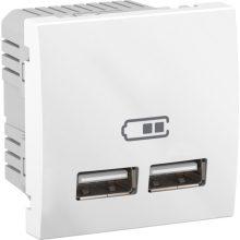 Schneider Unica MGU3.418.18 dupla USB töltő, 2,1A, 2 modulos, fehér burkolattal, keret és rögzítőkeret nélkül, süllyesztett