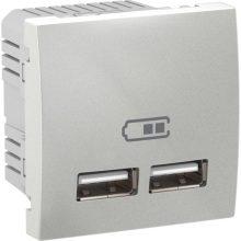 Schneider Unica MGU3.418.30 dupla USB töltő, 2,1A, 2 modulos, alumínium burkolattal, keret és rögzítőkeret nélkül, süllyesztett