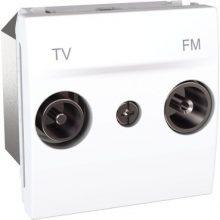 Schneider Unica MGU3.451.18 TV-R aljzat, végzáró, 2 modulos, fehér burkolattal, keret és rögzítőkeret nélkül, süllyesztett