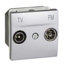 Schneider Unica MGU3.451.30 TV-R aljzat, végzáró, 2 modulos, alumínium burkolattal, keret és rögzítőkeret nélkül, süllyesztett