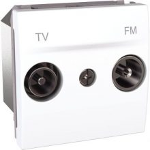 Schneider Unica MGU3.452.18 TV-R aljzat, végzáró, felfűzött rendszerhez, 2 modulos, fehér burkolattal, keret és rögzítőkeret nélkül, süllyesztett