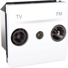 Schneider Unica MGU3.453.18 TV-R aljzat, átmenő, felfűzött rendszerhez, 2 modulos, fehér burkolattal, keret és rögzítőkeret nélkül, süllyesztett