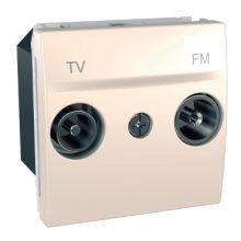 Schneider Unica MGU3.453.25 TV-R aljzat, átmenő, felfűzött rendszerhez, 2 modulos, krém burkolattal, keret és rögzítőkeret nélkül, süllyesztett