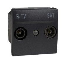 Schneider Unica MGU3.454.12 TV/R-SAT aljzat, végzáró, 1dB, csillagpontos rendszerhez, 2 modulos, grafit burkolattal, keret és rögzítőkeret nélkül, süllyesztett