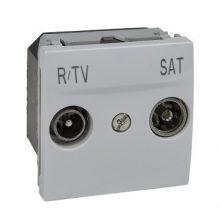 Schneider Unica MGU3.454.18 TV/R-SAT aljzat, végzáró, 1dB, csillagpontos rendszerhez, 2 modulos, fehér burkolattal, keret és rögzítőkeret nélkül, süllyesztett