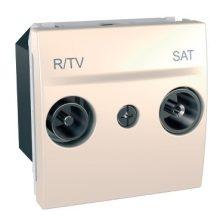 Schneider Unica MGU3.456.25 TV/R-SAT aljzat, átmenő, 13dB, felfűzött rendszerhez, 2 modulos, krém burkolattal, keret és rögzítőkeret nélkül, süllyesztett