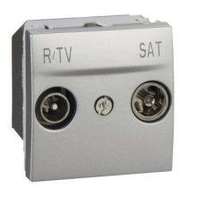 Schneider Unica MGU3.456.30 TV/R-SAT aljzat, átmenő, 13dB, felfűzött rendszerhez, 2 modulos, alumínium burkolattal, keret és rögzítőkeret nélkül, süllyesztett
