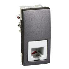 Schneider Unica MGU3.490.12 telefon csatlakozóaljzat, 1xRJ11, 1 modulos, grafit burkolattal, keret és rögzítőkeret nélkül, süllyesztett