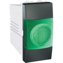 Schneider Unica MGU3.775.12V jelzőlámpa, zöld színű, 1 modulos, grafit burkolattal, keret és rögzítőkeret nélkül, süllyesztett