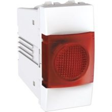 Schneider Unica MGU3.775.18R jelzőlámpa, piros színű, 1 modulos, fehér burkolattal, keret és rögzítőkeret nélkül, süllyesztett