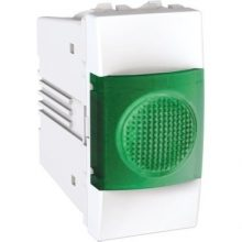 Schneider Unica MGU3.775.18V jelzőlámpa, zöld színű, 1 modulos, fehér burkolattal, keret és rögzítőkeret nélkül, süllyesztett