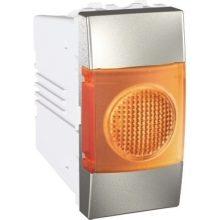Schneider Unica MGU3.775.30A jelzőlámpa, narancs színű, 1 modulos, alumínium burkolattal, keret és rögzítőkeret nélkül, süllyesztett