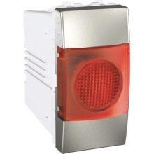 Schneider Unica MGU3.775.30R jelzőlámpa, piros színű, 1 modulos, alumínium burkolattal, keret és rögzítőkeret nélkül, süllyesztett