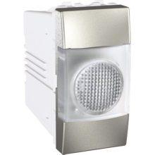 Schneider Unica MGU3.775.30T jelzőlámpa, fehér színű, 1 modulos, alumínium burkolattal, keret és rögzítőkeret nélkül, süllyesztett