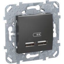 Schneider Unica MGU5.418.12ZD dupla USB töltő, 2.1A, grafit burkolattal, keret nélkül, süllyesztett