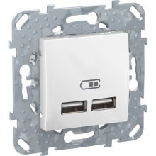 Schneider Unica MGU5.418.18ZD dupla USB töltő, 2.1A, fehér burkolattal, keret nélkül, süllyesztett