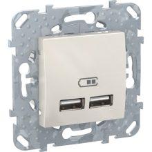 Schneider Unica MGU5.418.25ZD dupla USB töltő, 2.1A, krém burkolattal, keret nélkül, süllyesztett