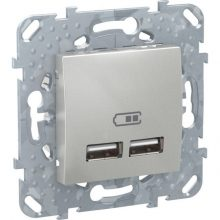 Schneider Unica MGU5.418.30ZD dupla USB töltő, 2.1A, alumínium burkolattal, keret nélkül, süllyesztett