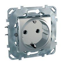 Schneider Unica MGU50.036.30Z földelt csatlakozóaljzat (dugalj) 2P+F, alumínium burkolattal, keret nélkül, süllyesztett, csavaros bekötés, 16A 250V
