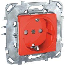 Schneider Unica MGU50.037.03Z földelt csatlakozóaljzat (dugalj) 2P+F, gyermekvédelemmel, piros burkolattal, keret nélkül, süllyesztett, csavaros bekötés, 16A 250V