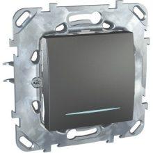 Schneider Unica MGU50.201.12NZ egypólusú kapcsoló (101), grafit burkolattal, kék jelzőfénnyel, keret nélkül, rugós bekötés, süllyesztett, 10A 250V