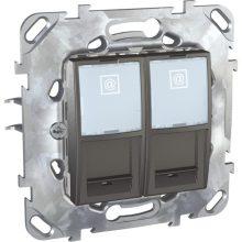 Schneider Unica MGU50.2020.12Z informatikai csatlakozóaljzat, 2xRJ45, Cat5e UTP, grafit burkolattal, keret nélkül, süllyesztett