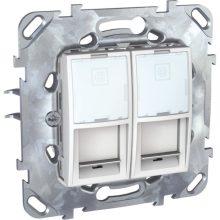Schneider Unica MGU50.2020.18Z informatikai csatlakozóaljzat, 2xRJ45, Cat5e UTP, fehér burkolattal, keret nélkül, süllyesztett