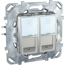 Schneider Unica MGU50.2020.30Z informatikai csatlakozóaljzat, 2xRJ45, Cat5e UTP, alumínium burkolattal, keret nélkül, süllyesztett