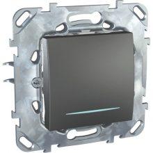 Schneider Unica MGU50.203.12NZ váltókapcsoló (106), grafit burkolattal, kék jelzőfénnyel, keret nélkül, rugós bekötés, süllyesztett, 10A 250V
