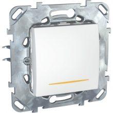 Schneider Unica MGU50.203.18SZ váltókapcsoló (106), fehér burkolattal, borostyán ellenörzőfénnyel, keret nélkül, rugós bekötés, süllyesztett, 10A 250V