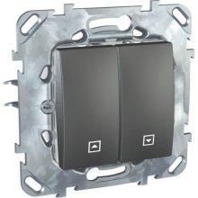 Schneider Unica MGU50.208.12Z redőnykapcsoló, grafit burkolattal, keret nélkül, rugós bekötés, süllyesztett, 10A 250V