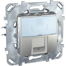 Schneider Unica MGU50.421.30Z informatikai csatlakozóaljzat, 1xRJ45, Cat5e UTP, alumínium burkolattal, keret nélkül, süllyesztett