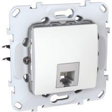Schneider Unica MGU50.497.18Z telefon csatlakozóaljzat 1xRJ12, fehér burkolattal, keret nélkül, süllyesztett