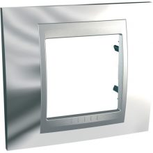 Schneider Unica Top MGU66.002.010 1-es csillám króm keret alumínium betéttel